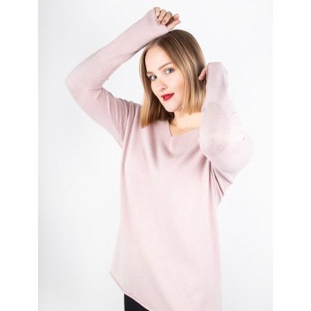 Amazing Woman  Cleo V Neck Lurex Trim Supersoft Fine Knit - Pink