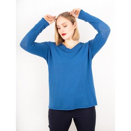Amazing Woman  Cleo V Neck Lurex Trim Supersoft Fine Knit - Blue