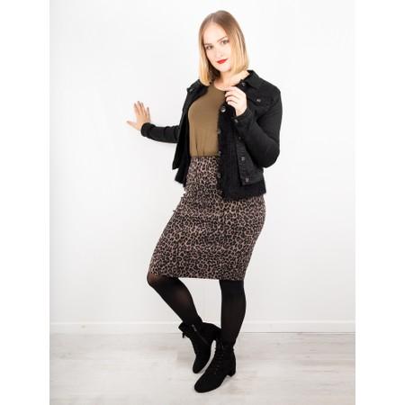 Foil Beeline Pencil Pullon Skirt - Beige