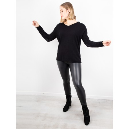 Amazing Woman  Cleo V Neck Lurex Trim Supersoft Fine Knit - Black
