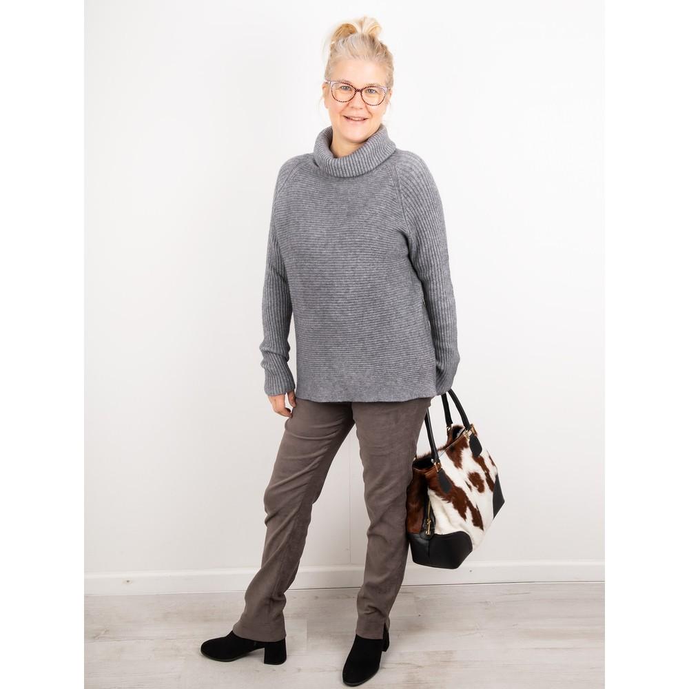 Amazing Woman Fliss Roll Neck Raglan Sleeve Ribbed Knit Grey Marl