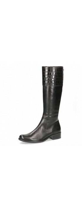 Caprice Footwear Linzy Equestrian Style Long Leather Boot  Black