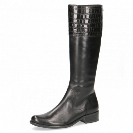 Caprice Footwear Linzy Equestrian Style Long Leather Boot  - Black