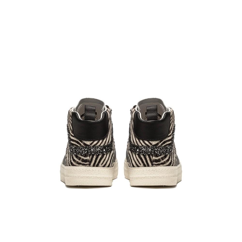 D.A.T.E Hawk Animal Print Hi Top Sneaker Pony Zebra
