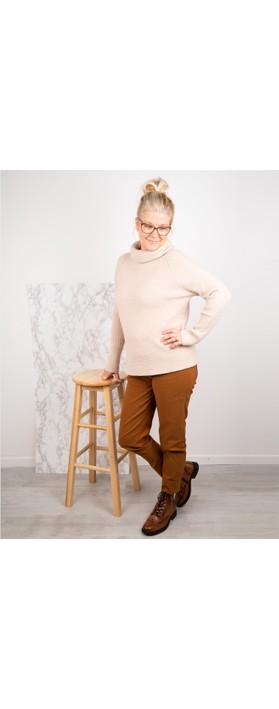 Amazing Woman Fliss Roll Neck Raglan Sleeve Ribbed Knit Beige