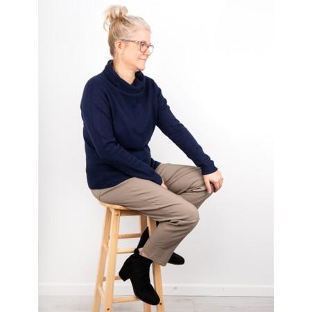 Amazing Woman  Fara Cowl Neck Contrast Rib Hem Knit Jumper - Blue