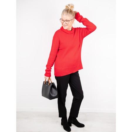 Amazing Woman  Fara Cowl Neck Contrast Rib Hem Knit Jumper - Red