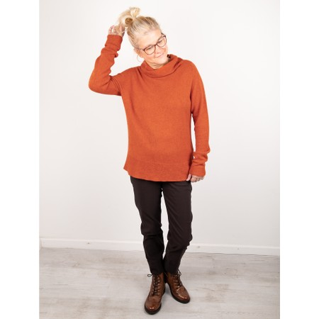 Amazing Woman  Fara Cowl Neck Contrast Rib Hem Knit Jumper - Orange