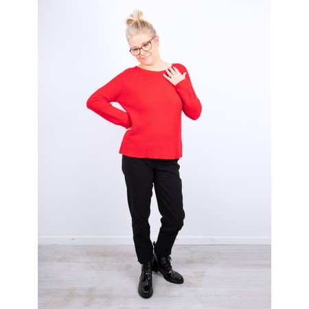 Amazing Woman Fiona Round Neck Raglan Sleeve Rib Knit Jumper - Red