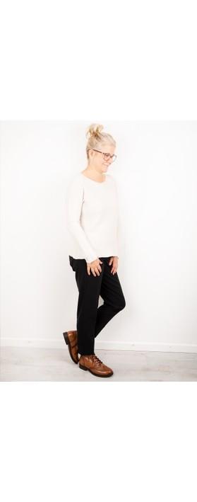 Amazing Woman Fiona Round Neck Raglan Sleeve Rib Knit Jumper Off White