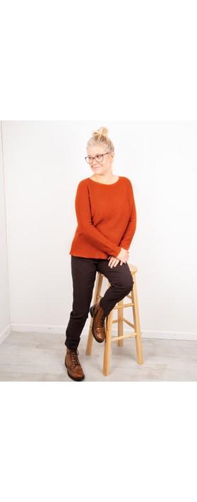 Amazing Woman Fiona Round Neck Raglan Sleeve Rib Knit Jumper Pumpkin