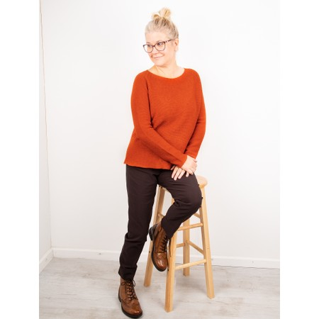Amazing Woman Fiona Round Neck Raglan Sleeve Rib Knit Jumper - Orange