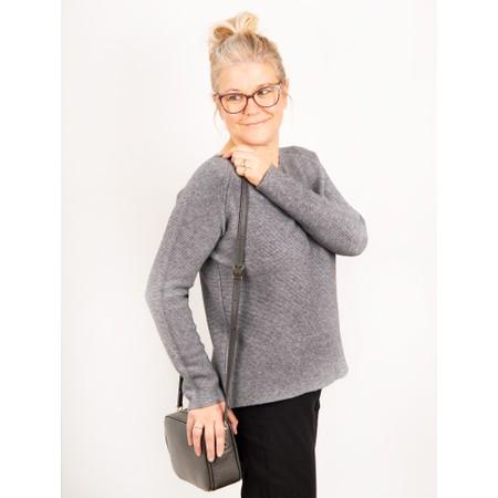 Amazing Woman Fiona Round Neck Raglan Sleeve Rib Knit Jumper - Blue