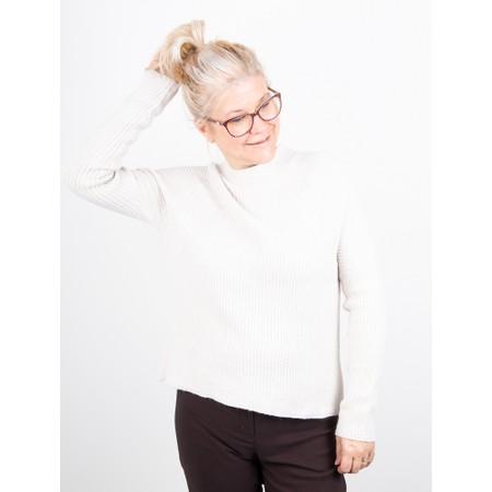 Amazing Woman  Fran Roll Neck Contrast Rib Knit - White