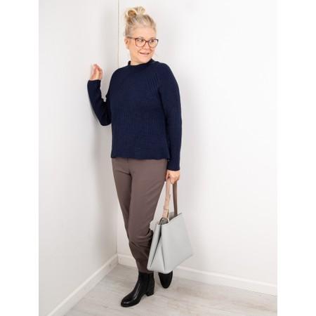 Amazing Woman  Fran Roll Neck Contrast Rib Knit - Blue