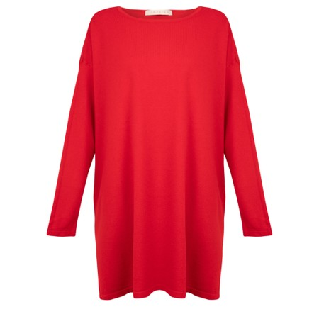 Amazing Woman Wells Round Neck Slouch Knit - Red