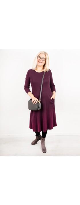 Adini Kathi Fit & Flare Midi Dress Burgundy