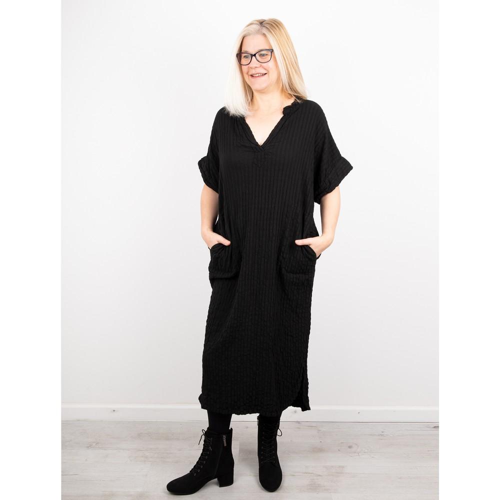 Thing Long Textured Shirt Dress Black
