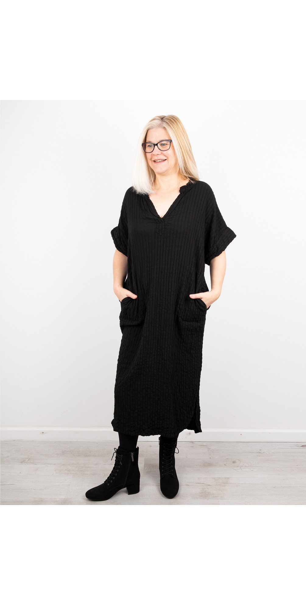 Long Textured Shirt Dress main image