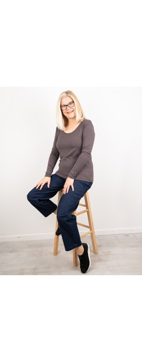 Thing Long Sleeved Round Neck Bamboo Fitted T-Shirt Ash