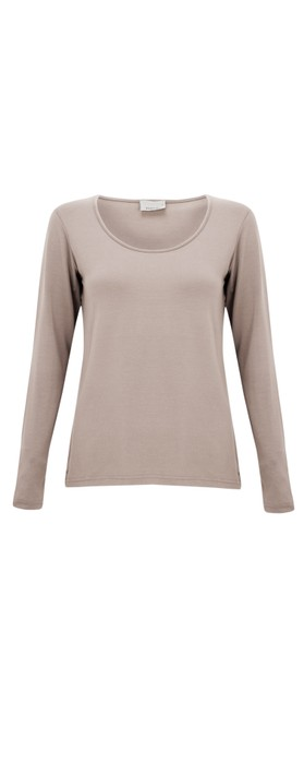 Thing Long Sleeved Round Neck Bamboo Fitted T-Shirt Sand