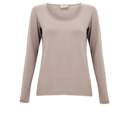 Thing Long Sleeved Round Neck Bamboo Fitted T-Shirt - Beige
