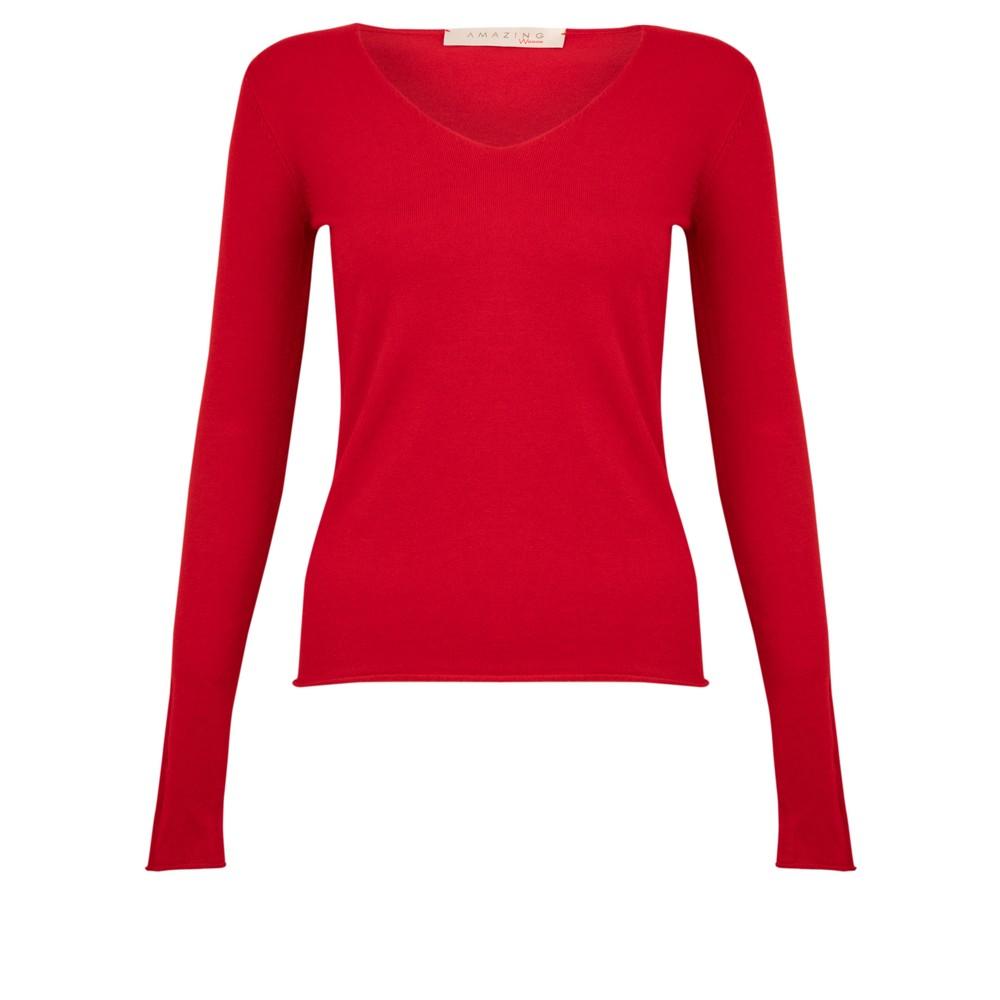 Amazing Woman Tara V Neck Slimfit Fine Knit Jumper Red