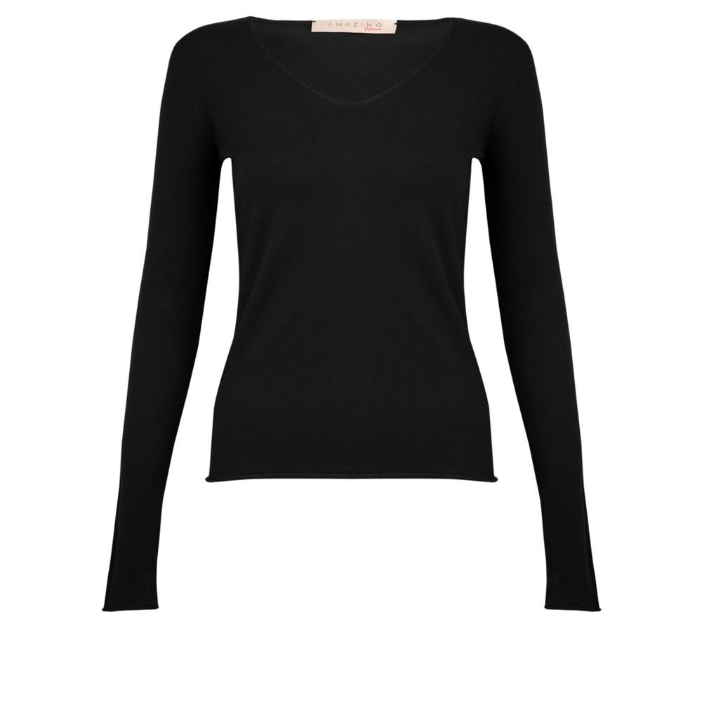 Amazing Woman Tara V Neck Slimfit Fine Knit Jumper Black