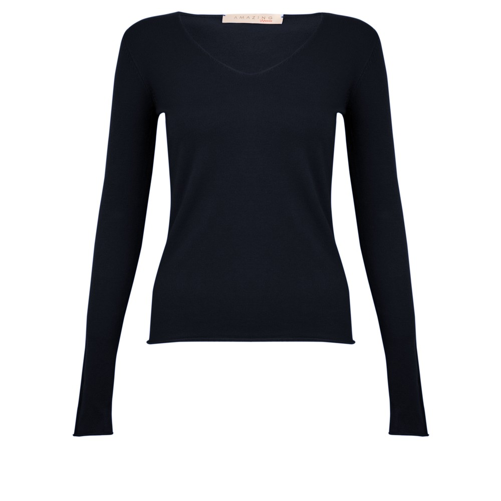 Amazing Woman Tara V Neck Slimfit Fine Knit Jumper Bright Navy Blu