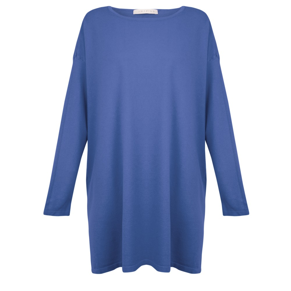 Amazing Woman Wells Round Neck Slouch Knit Royal Marl