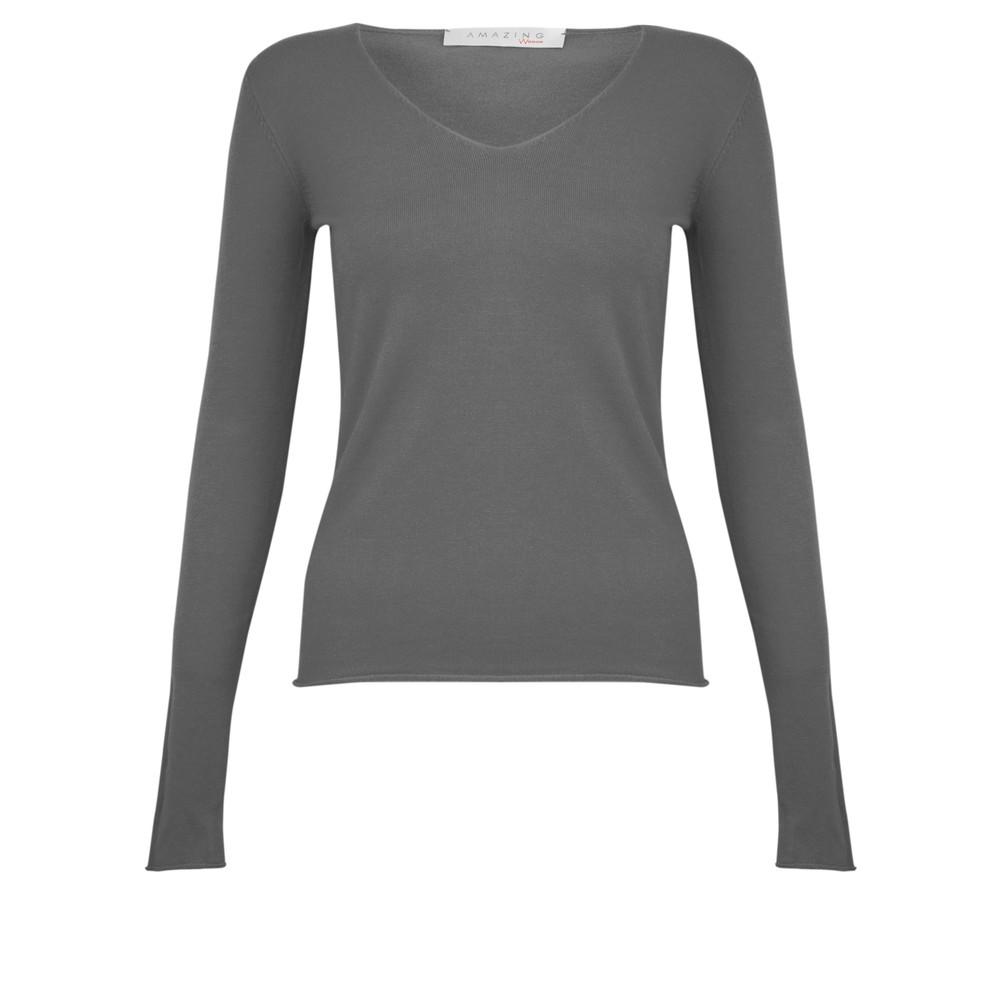 Amazing Woman Tara V Neck Slimfit Fine Knit Jumper Grey Marl