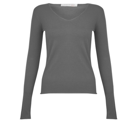 Amazing Woman Tara V Neck Slimfit Fine Knit Jumper - Blue