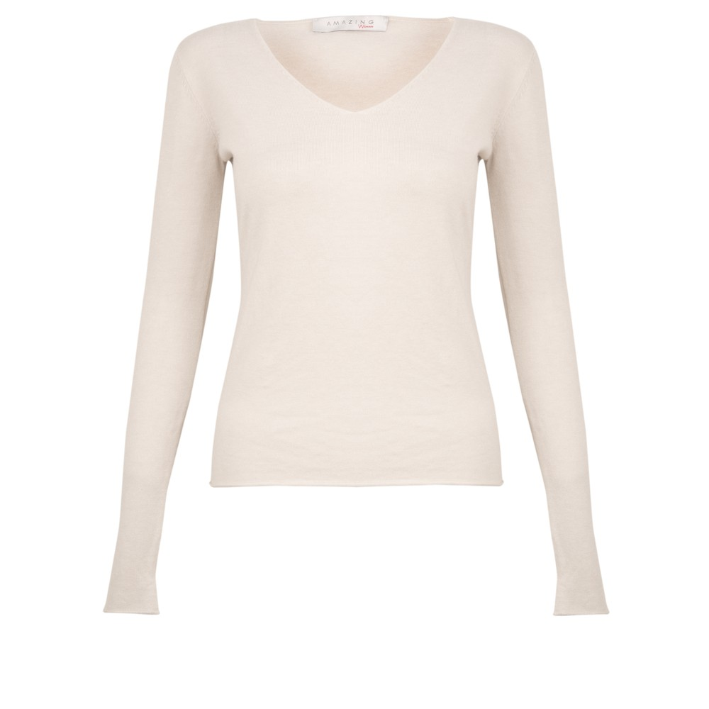 Amazing Woman Tara V Neck Slimfit Fine Knit Jumper Off White