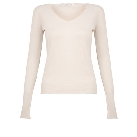 Amazing Woman Tara V Neck Slimfit Fine Knit Jumper - White