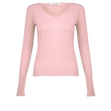 Amazing Woman Tara V Neck Slimfit Fine Knit Jumper - Pink