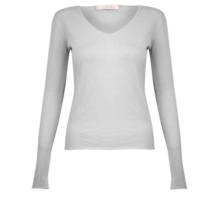 Amazing Woman Tara V Neck Slimfit Fine Knit Jumper - Grey