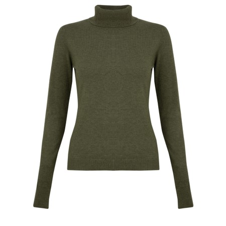 Amazing Woman  Britt Fineknit Fitted Polo Neck Jumper - Beige