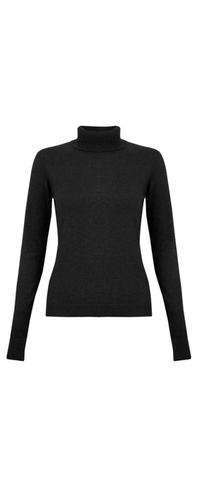 Amazing Woman Britt Fineknit Fitted Polo Neck Jumper Black