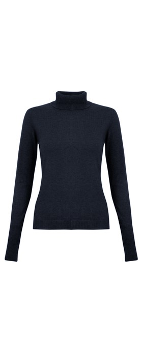 Amazing Woman Britt Fineknit Fitted Polo Neck Jumper Bright Navy Blu