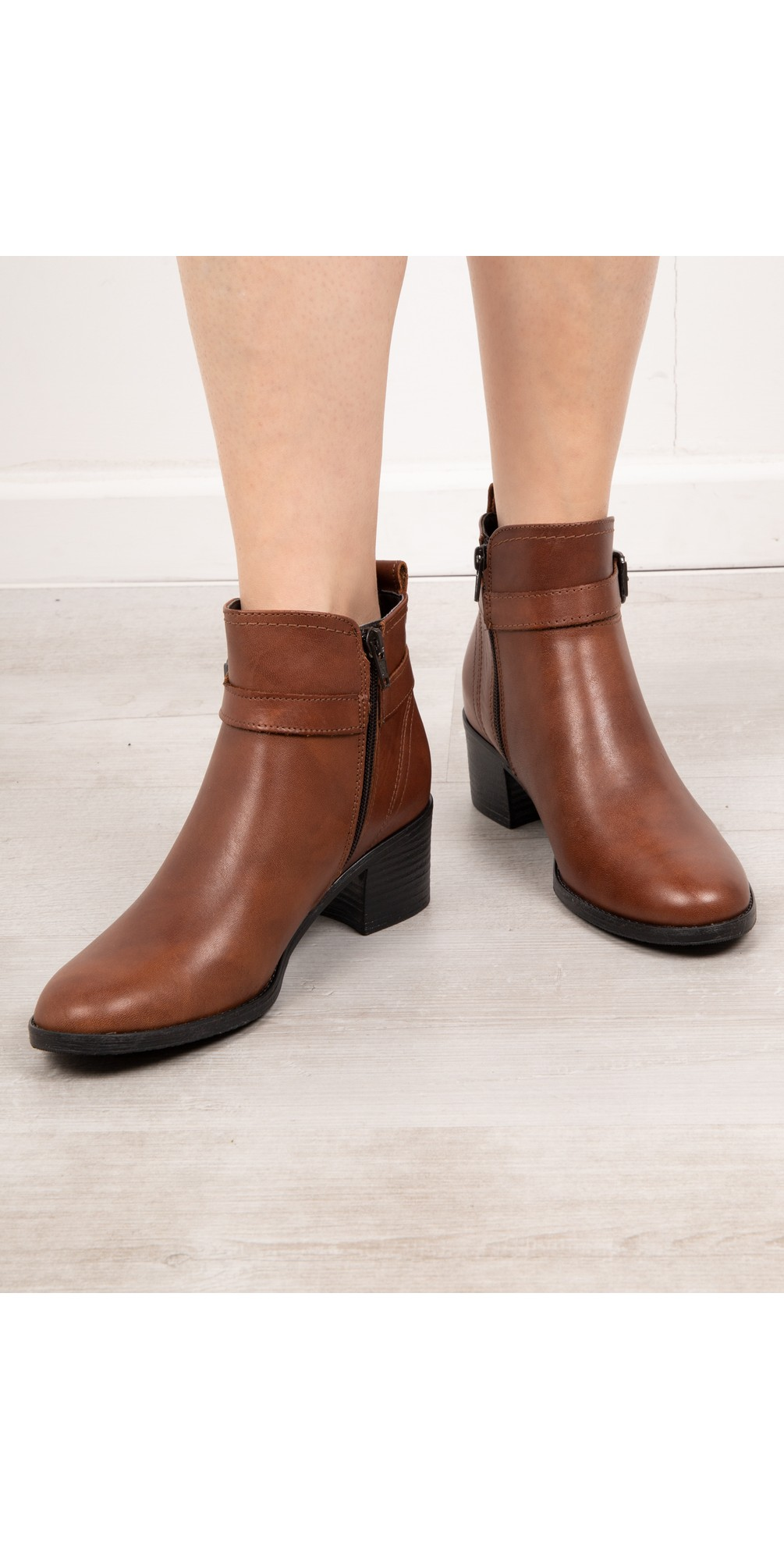 Pauletta Buckle Detail Leather Ankle Boot main image