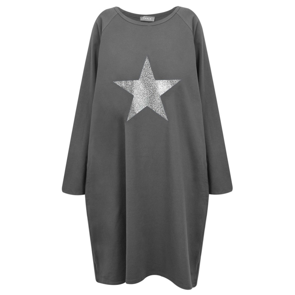 Chalk Brody Star Dress Charcoal / Gunmetal Glitter
