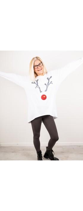 Chalk Robyn Giant Reindeer Top White / Gunmetal Gltr / Red Gltr