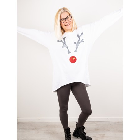 Chalk Robyn Giant Reindeer Top - White