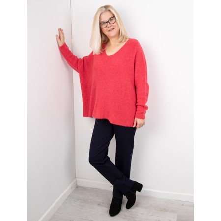 Amazing Woman  Cadee V Neck Oversized Cosy Knit - Red