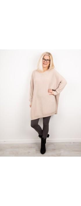 Amazing Woman Cassi X Round Neck Front Seam Knit Beige