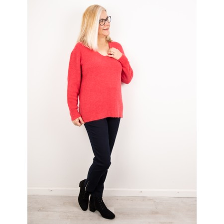 Amazing Woman  Carin V Neck Cosy Knit - Red