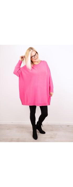 Amazing Woman Cassi X Round Neck Front Seam Knit Magenta