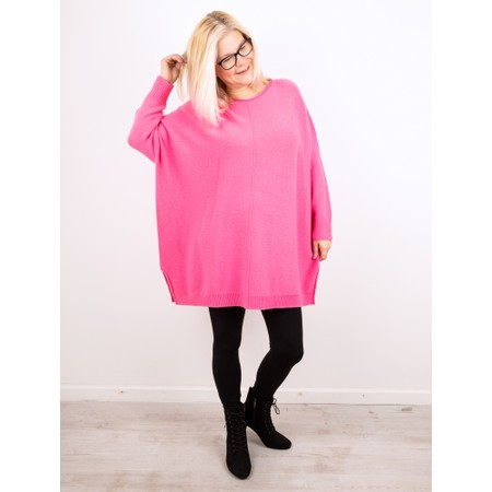 Amazing Woman  Cassi Round Neck Front Seam Knit - Pink