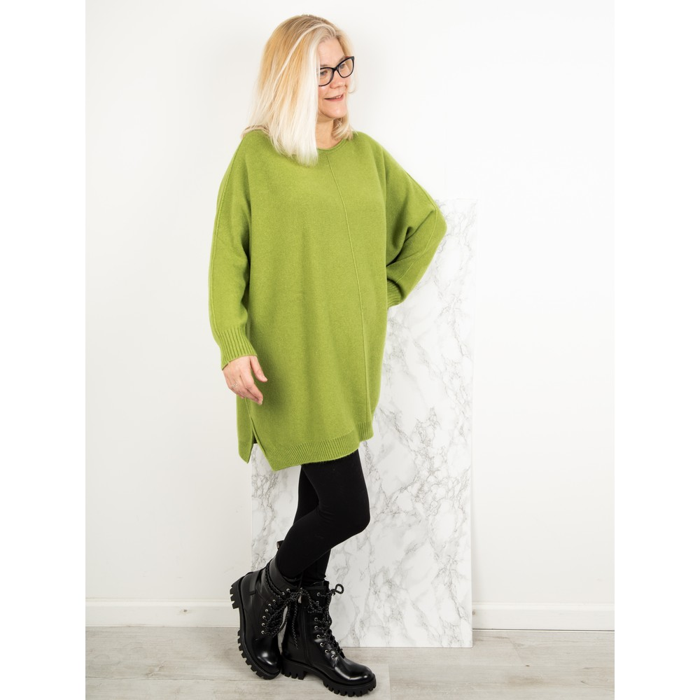 Amazing Woman Cassi X Round Neck Front Seam Knit Pea Green