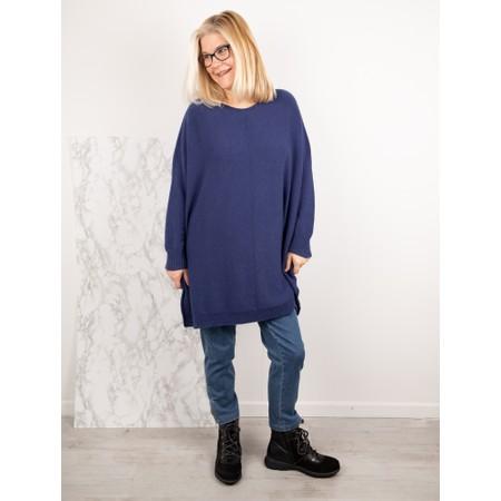 Amazing Woman  Cassi Round Neck Front Seam Knit - Blue